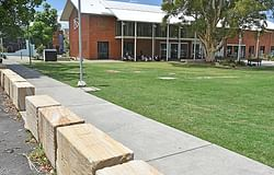 New sandstone safety barriers installed at The Quad